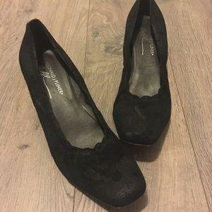 Donald J. Plainer black suede kitten heel pumps